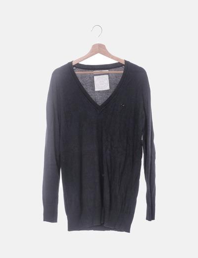 Jersey largo tricot negro