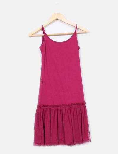 Mini vestido fucsia falda tul
