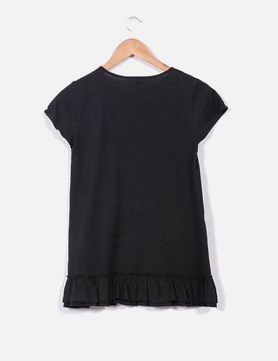 siempre popular verdadero negocio diseñador nuevo y usado Camiseta negra con volante