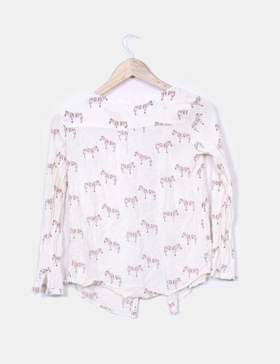 Blusa blanca print cebra