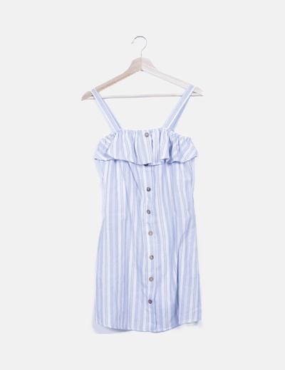 Vestido blanco raya azul