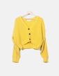 Chaqueta crop punto amarillo Urban outfitters