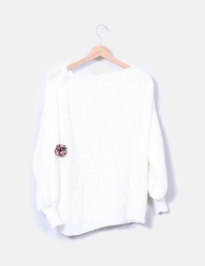 Jersey blanco pompones mangas farol