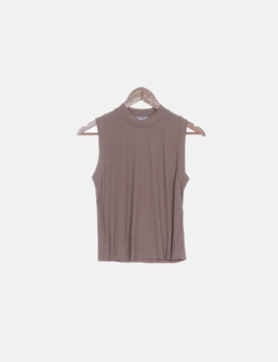 Camiseta camel canalé