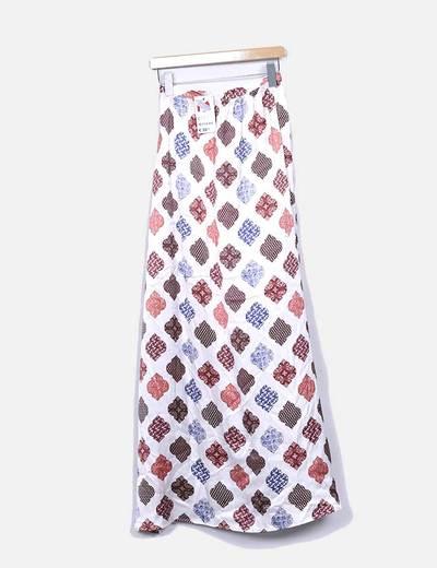 Maxi falda nude estampada con abertura