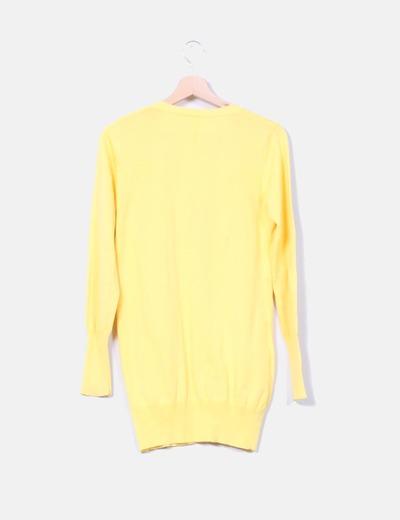 Cardigan punto fino amarillo