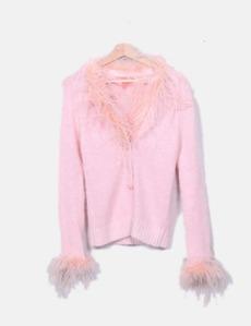 Chaqueta punto rosa con plumas Manoush 51571458f6c6