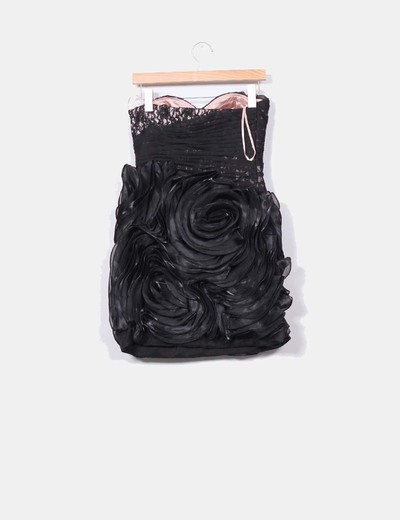 Vestido negro combinado palabra de honor