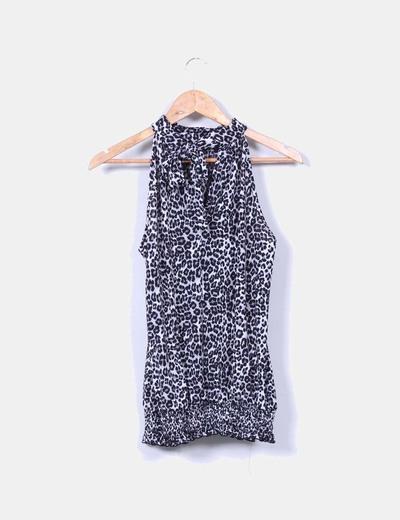 Blusa animal print cuello halter