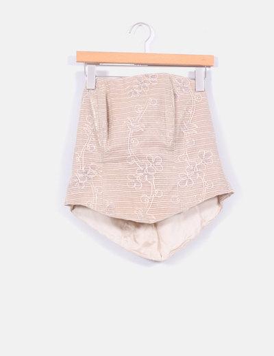 Traje compuesto por falda,corpiño y chal beige y marrón NoName