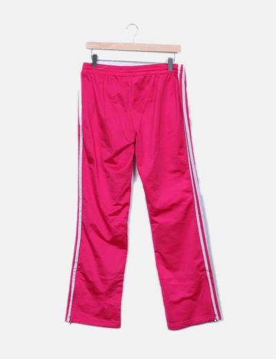 Pantalon fucsia con rayas blancas