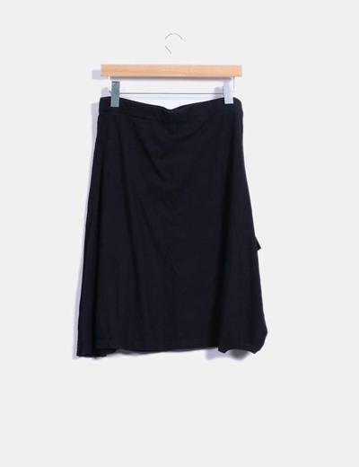 Falda midi negra print