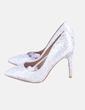 Zapato de tacón glitter plateado Claudia