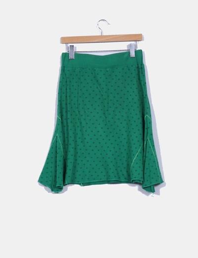 Falda midi verde asimetrica