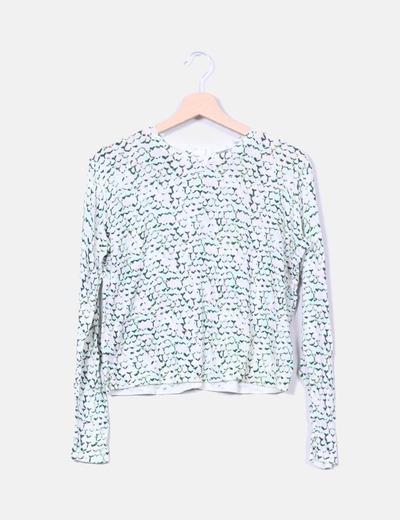 Pull beige en tricot imprimé vert COS