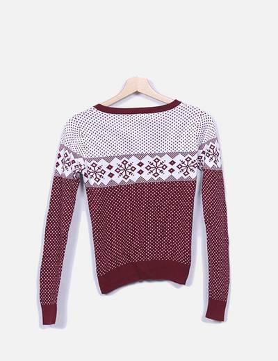 Chaqueta tricot beige estampada