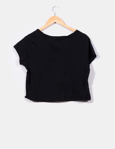d33bebc4e4599 Lefties Camiseta corta negra letras blancas (descuento 71%) - Micolet