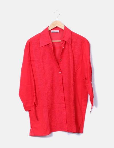 Camisa fluida roja con bordados Elena Miró