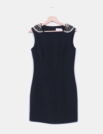Vestido negro detalle paillettes  Modaland