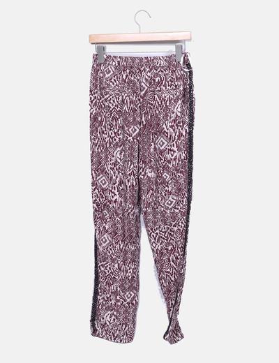 Pantalon baggy etnico burdeos