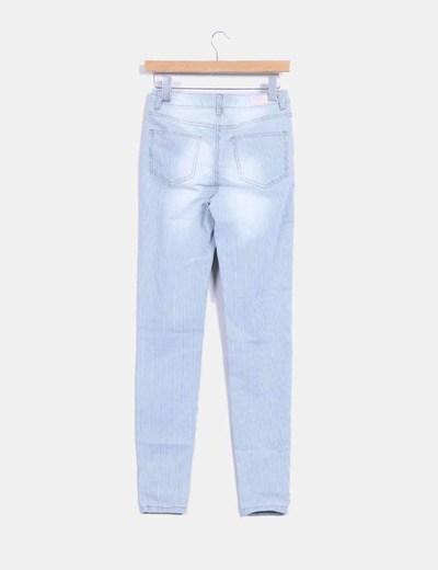 Jeans denim pitillo de rayas