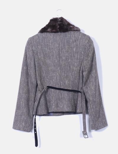 Conjunto de falda y blazer marron jaspeada