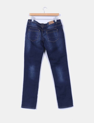 Jeans oscuro costura camel