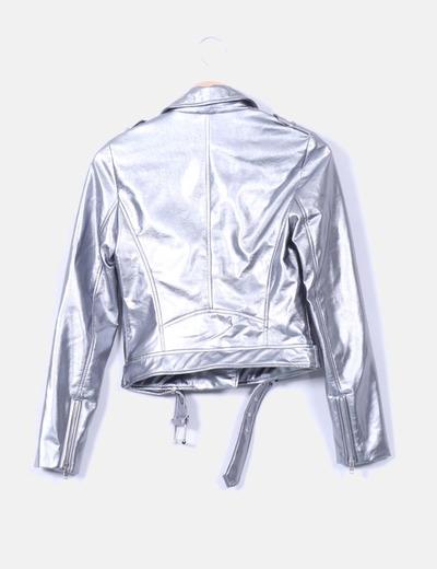 grandes ofertas en moda envío directo retro Cazadora perfecto polipiel plateado