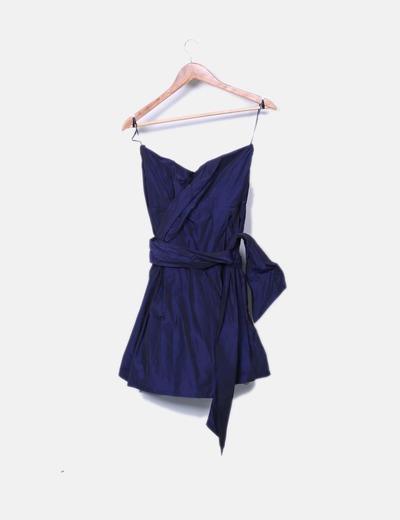 Vestido mini azul escote palabra de honor