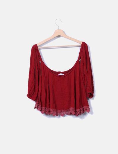 Top corto combinado crochet