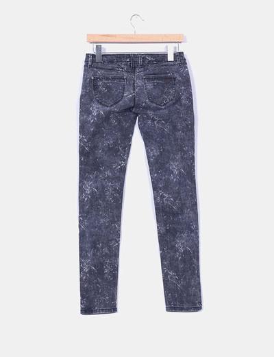 Pantalon denim gris efecto desgastado