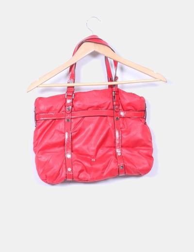 Bolso rojo acolchado combinado