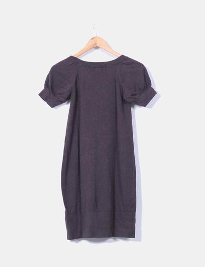 Vestido tricot marron escote redondo