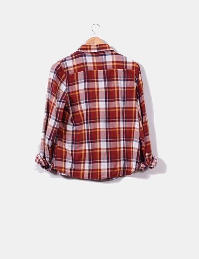 Camisa de cuadros tonos teja