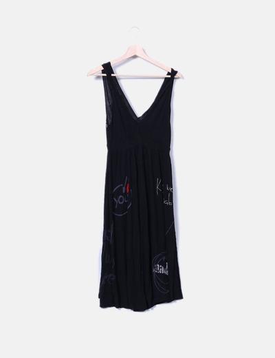 Robe noire à bretelles larges Desigual
