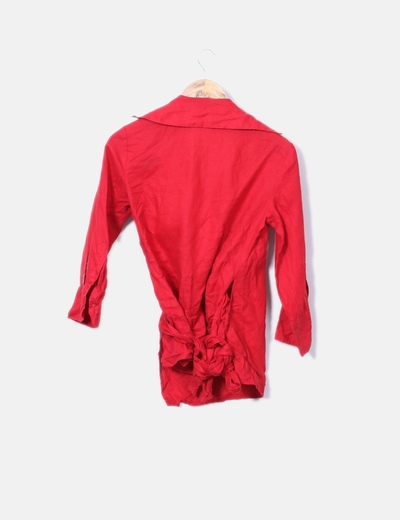 d6fd82095656 Camisa de lino roja cruzada