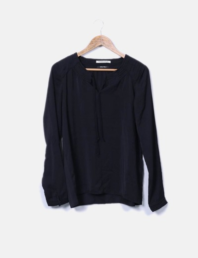 Blusa negra manga larga Maison Scotch