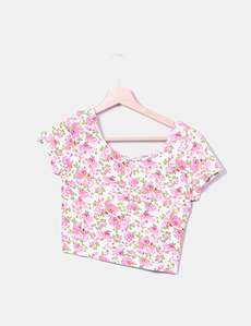 15193be2373d4 Crop floral print top H M