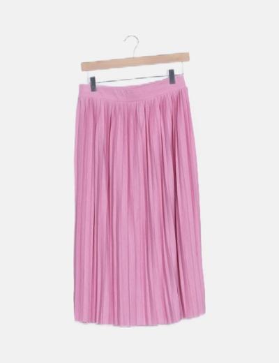 Falda midi rosa tablas