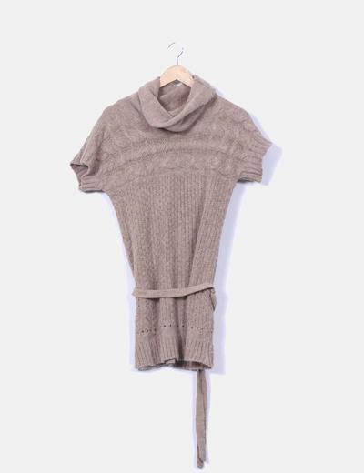 Vestido lana camel manga corta Zara