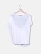 Camiseta blanca escote combinado con bordado Pull&Bear