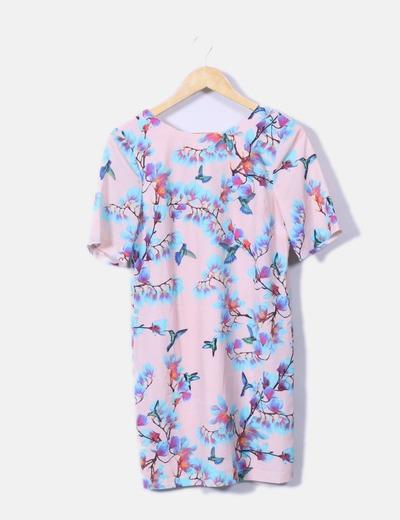 Vestido floral con escote trasero Asos