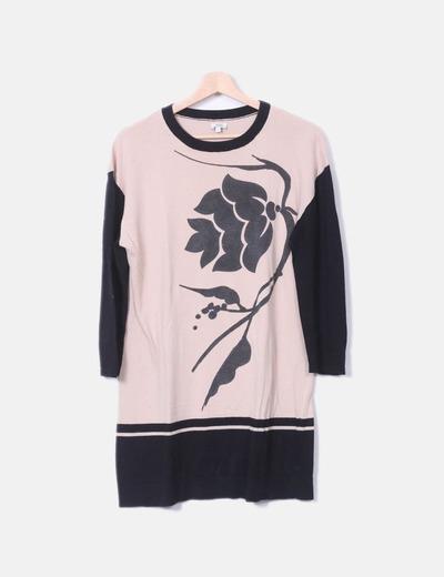 Robe rose de noir et imprimé Hoss Intropia