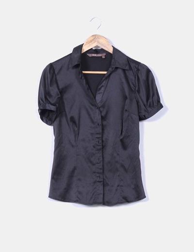 Blusa negra satinada manga corta Tex Woman