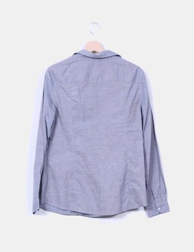 Camisa azul de rayas manga larga