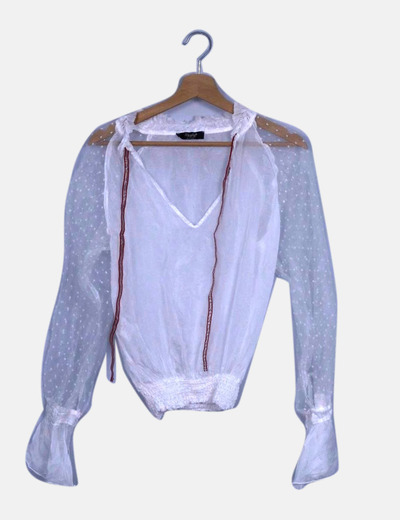 Blusa blanca semitransparente motas