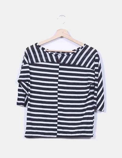 Camiseta rayas negras y grises Promod
