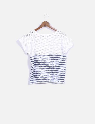 Camiseta guipur rayas azules