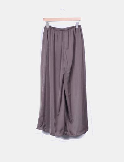 Pantalon fluido khaki wide leg