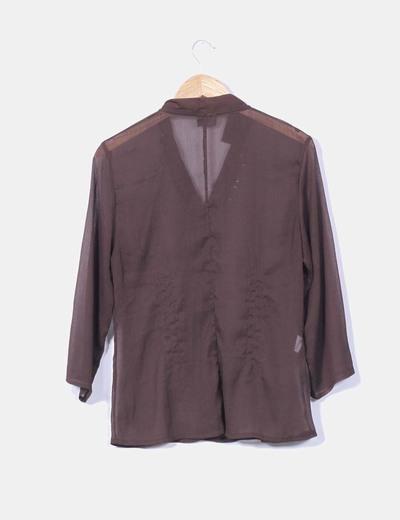 Blusa marron transparente con lentejuelas